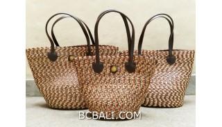 bali straw woven handbag handmade brown color set 3