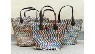 bali straw woven handbag handmade grey color set of 3