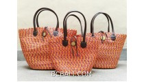 bali straw woven handbag handmade orange color sets of 3