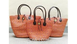 bali straw woven handbag handmade orange color sets of 3
