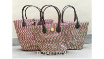 bali straw woven handmade handbag shopping beach