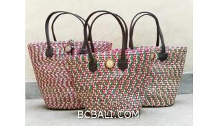 bali straw woven handmade handbag shopping beach