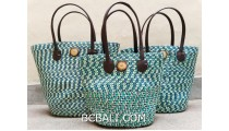 bali straw woven handmade handbag turquoise color sets of 3