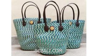 bali straw woven handmade handbag turquoise color sets of 3
