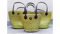 bali straw woven handmade handbag yellow color sets of 3