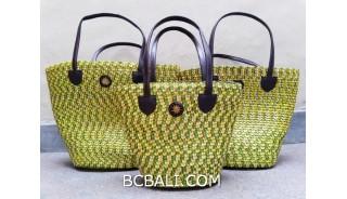bali straw woven handmade handbag yellow color sets of 3