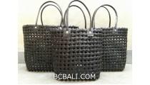 sea grass net woven handbag handmade set of 3 black color