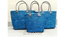sea grass net woven handbag handmade set of 3 blue color