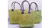 sea grass net woven handbag handmade set of 3 green color