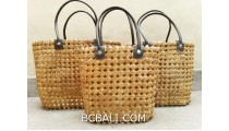 sea grass net woven handbag handmade set of 3 natural color