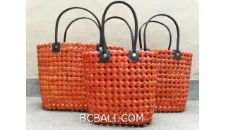 sea grass net woven handbag handmade set of 3 orange color