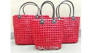 sea grass net woven handbag handmade set of3 red color