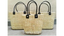 sea grass net woven handbag handmade set of3 white color
