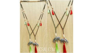 black larva beads stone tassels necklace bronze tassels wholesale price