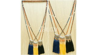 crystal beads glass mix  mala necklace tassels pendant triple handmade