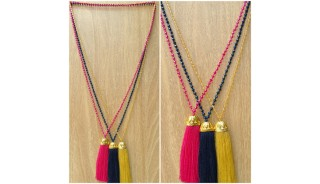 golden bronze caps tassels pendant necklace beads crystal wholesale price