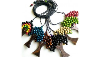 wooden necklaces pendant palm trees leather string 50 pieces