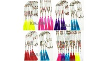 wooden beads colorful mix tassels necklaces handmade 60 Pieces shipping free