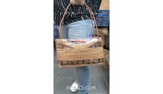 bali hand woven ata grass handmade women design leather handle