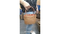 balinese hand woven ata grass handbag handmade short handle