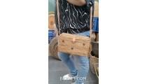 cosmetic handbag hand woven ata grass long handle unique design