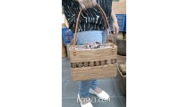 hand woven grass ata handbag coco wood leather handle long handle