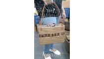 hand woven grass ata handbag coco wood leather handle long handle