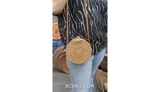 hand woven ata grass circle bag long handle leather rattan strep