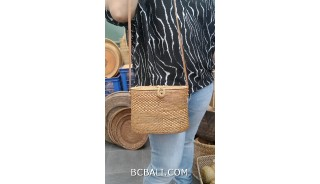 ata hand woven grass handbag women long handle leather