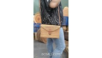 hand woven straw ata handmade bag natural sequare long handle leather