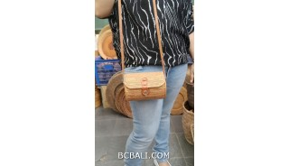 handmade rattan hand woven purses bag long handle leather