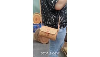 handmade ata hand woven grass purses bag long handle leather genuine