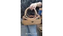 ladies handbag ata grass woven solid handle hand made bali
