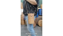 natural hand woven rattan bottle design long handle leather