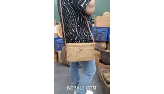 ata grass straw hand woven bags handmade long handle with leather