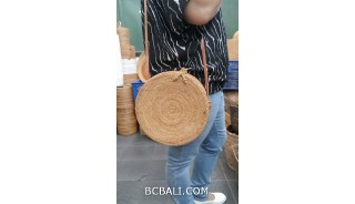 ata hand woven grass circle design with flower rattan strap long handle