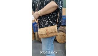 women handbag purses long handle leather ata grass woven