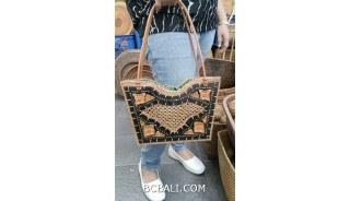 wooden handbag with hand woven ata straw grass leather handle