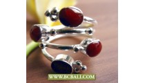 Finger Rings Red Coral Alpaca Silver Bali