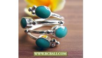 Finger Rings Turquoise Alpaca Silver Bali