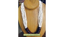White Beaded with Wooden Rings Fashion Necklaces