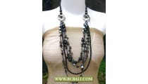 Beads Fancy Design Long Braided Black Necklace Flower Chain