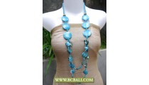 Blue Colors Fashion Squins Necklaces with Shells Nuget mix Wooden
