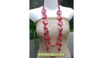 Reds Colors Beaded Necklace combain Shells Nuget and Wooden