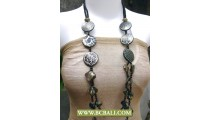 Black Colors Fashion Necklaces  Beads with Shells Nugets and Wooden