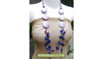 Purple Beaded with Wooden Necklaces mix Blue Shells Nuget