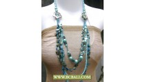 Cute Style Bcbali Blue Beaded Necklace Long Flower Chain