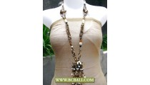Layered Necklace Multi Beading With Stone Pendant