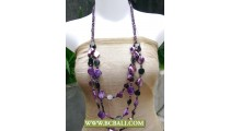 3 Strand Purple Shells Nuget Squins Necklace