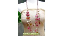 Cute Pink 3 Strand Shells Nuget  Necklace Beading